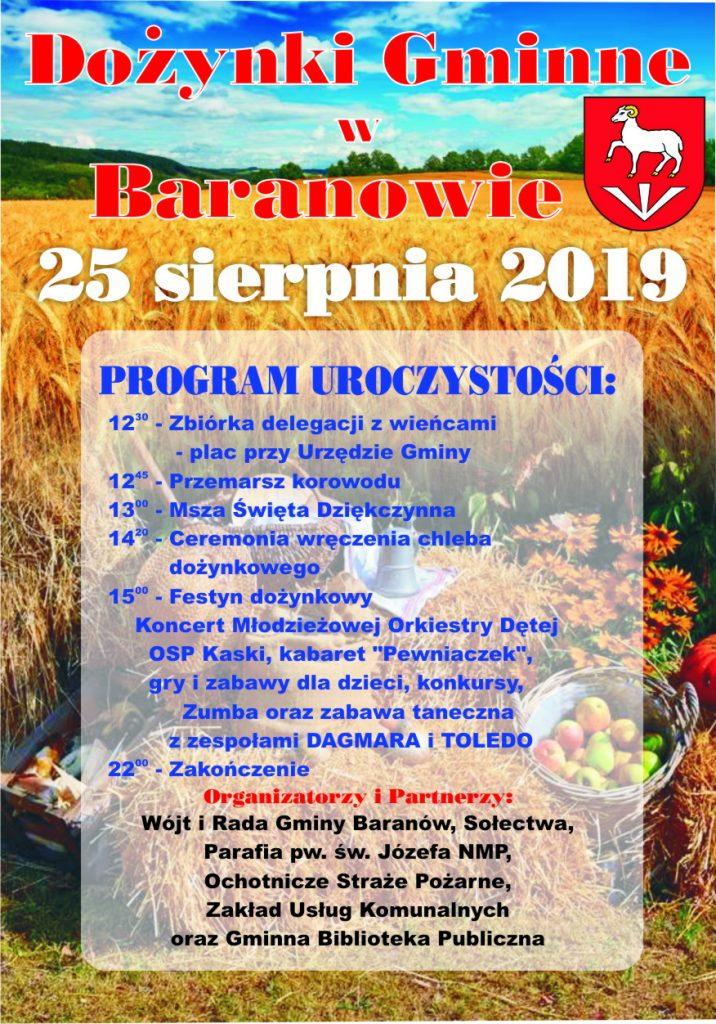 Dożynki Gminne w Baranowie 25 sierpnia 2019